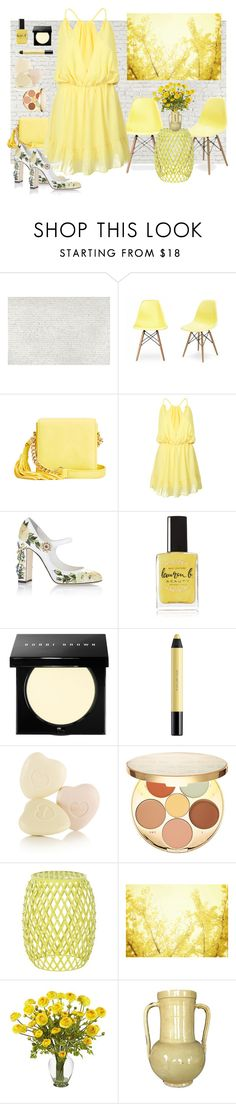"""""""Yellow Contest"""" by loves-elephants ❤ liked on Polyvore featuring 1Wall, IMoshion, WithChic, Dolce&Gabbana, Lauren B. Beauty, Bobbi Brown Cosmetics, shu uemura, tarte, Safavieh and Nearly Natural"""