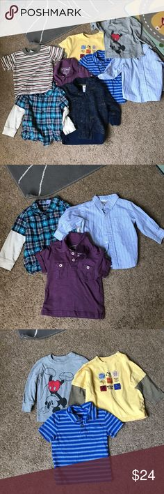 🍭🍭7 pieces boys clothing 🍭🍭 7 Pieces boys clothing🍭 good condition. Please feel free to ask questions 🍎old navy Mickey shirt 12/18 month🍎carters yellow shirt 18 month🍎Circo zipped up hoodie 18 month🍎baby Gap blue polo 12/18 month🍎Osh Kosh purple polo 18 month 🍎carters flannel shirt sleeve with sewn in cotton arms 18 month🍎koala kids button up collared dress shirt. 18 months Shirts & Tops