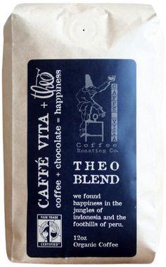 Caffe Vita Theo Blend, Fair Trade, Whole Bean Coffee. Caffe Vita Coffee Roasting Co.