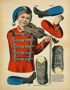 violinista Paper Puppets, Paper Toys, Vintage Playmates, Paper Art, Paper Crafts, Marionette, Arte Popular, Vintage Paper Dolls, Victorian Christmas