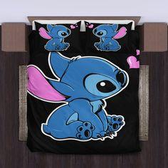 Cute Stitch Bedding Set - duvet cover and pillowcase set Stitch Disney, Lilo Ve Stitch, Citations Lilo Et Stitch, Lelo And Stitch, Lilo And Stitch Quotes, Blue Bedding, Dorm Bedding, Bedding Sets, Bedding Decor