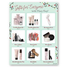 Mary Kay Gifts for Everyone Flier!! Change the images & text below to offer any gifts sets you'd like! Find it only at www.thepinkbubble.co!
