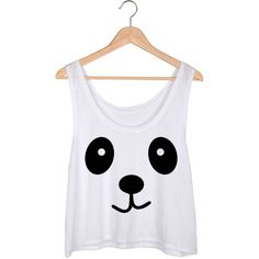 Panda Crop Top featuring polyvore, fashion, clothing, tops, crop top, shirts, white, women's clothing, shirt crop top, panda shirt, print top, white tops and relaxed fit tops