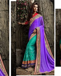 Purple and sea green half and half sari   1. Purple and sea green chiffon georgette shimmer sari2. Sea green pleats with thread embroidery3. Purple pallu with golden embroidered border4. Comes with matching unstitched blouse material