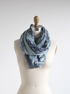 Shades of Blue Printed Cotton Scarf