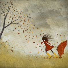 Autumn storm - Girl fighting against the storm with her umbrella - Illustration print.