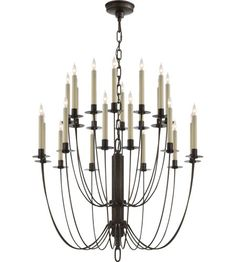 Visual Comfort Thomas OBrien Erika 24 Light Chandelier in Aged Iron with Wax TOB5205AI #visualcomfort #lightingnewyork #lighting