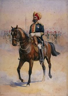 Soldier of the 14th Murray's Jat Lancers, Risaldar-Major, illustration for 'Armies of India' by Major G.F. MacMunn, published in 1911, 1909 Wall Art & Canvas Prints by Alfred Crowdy Lovett