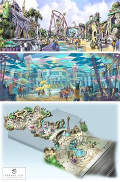 This is a more in depth concept as to how a sea will stretch out within the park Fantasy Art Landscapes, Fantasy Landscape, Pictures To Draw, Cool Pictures, Mon Zoo, Zoo Architecture, Planet Coaster, Park Resorts, Ocean Park