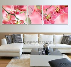 3 Panels Art Canvas Orange Orchid Flowers - Orchids Canvas Printing