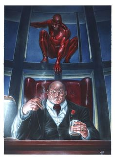 Kingpin and Daredevil by Andrea Mangiri