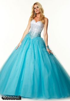 97051 Prom Dress / Gown Beading on Satin and Tulle Ballgown  Aqua