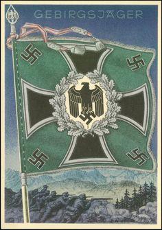 """1941 ca. Gebirgsjäger, Colorkarte Nr. 7 aus der Serie """"Siegreiche Fahnen und Standarten d. Deutschen Wehrmacht""""Bedarfsgebaucht (!)"""