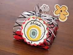 Super cute gift box with tutorial and FREE template by Kim Watson for Fancy Pants Designs
