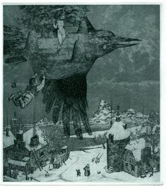 Konstantin KALYNOVYCH  Hunting for Summer. Etching, mezzotint, dry point, 18x16cm, 2012