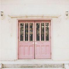 Pink exterior double doors