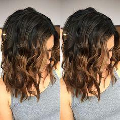 Balayage Ombre Dunkle Farbe Braunes Licht Highlights Karamell Schwarz, Braunes Ombre-Haar