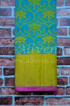 Turquoise Blue Kollam Pattu Saree with Lotus Motifs all over and broad Zari/Pink Borders - Aliveni  - 1