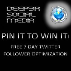 Win a Free Follower Optimization. During the 7 day optimization we will build your follower fanbase with targeted followers in your niche. REPIN TO WIN!!