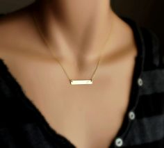 Gold Bar Necklace / Nameplate necklace / Gold Name by hotmixcold