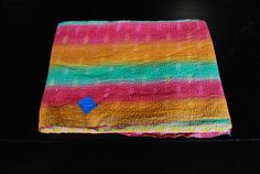 Reversible Vintage kantha sari throw by EllimodCreations on Etsy