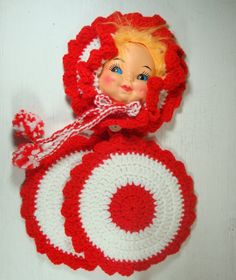 Vintage Crochet Doll Pot Holder Red White by AntiquesGaloreGal, $12.00. Remember the toilet paper cover that had doll standing thru tube and skirt was crochet cover. Can't find any fr picture