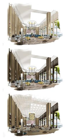 Lovely interior design of loft space in a lobby! Interior Design Renderings, Drawing Interior, Interior Rendering, Interior Sketch, Interior Design Process, Architecture Graphics, Architecture Drawings, Interior Architecture, Interior And Exterior