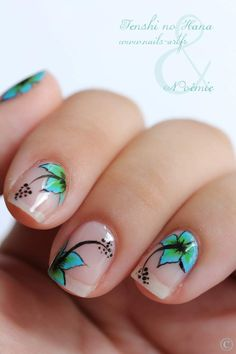 "I don't usually like nail art much, but this is really pretty. --""Natural Nails with ""off the page"" hibiscus floral design. Flower Nail Designs, Flower Nail Art, Nail Designs Spring, Fancy Nails, Love Nails, Pretty Nails, Nail Polish Designs, Nail Art Designs, Tropical Flower Nails"