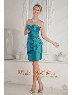 Teal Junior Prom Dress Column Sweetheart Sash Mini-length Taffeta- $86.12  http://www.fashionos.com  Simple sassy dress! This sensational sweetheart short prom dress has a glamorous celebrity style with beautiful pleats on the close-fitting bodice and the empire waistline. The short skirt accented with tiers of ruffles in irregular length is of charm and fascination. Zipper up closure finishes the dazzaling look. You will not miss it!