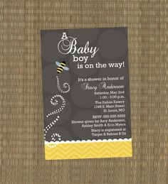 Printable Baby Shower Invitation - Gray and Yellow Baby Bumble Bee Shower Invitation. $15.00, via Etsy.