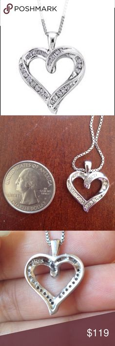 1.5 c/t diamond pendant 1.5 c/t diamond  pendant in sterling silver . Chain is not included . Got it as a gift but never used it . Pls ask any Q before u buy. helzberg diamonds Jewelry Necklaces