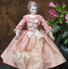 """17 1/2"""" (45 cm). Antique French Fashion Early Jumeau doll wood &leather…"""