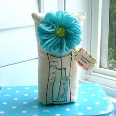 Fabric Flower, Flower Soft Sculpture, Flower Pillow, Flower Vase, Fabric Flower Bouquet, Stuffed Flower, Appliqued Flower - No. 225 via Etsy