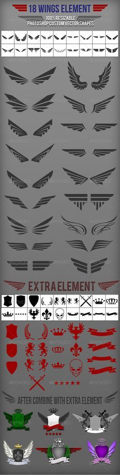18 Wings Photoshop Custom Shapes