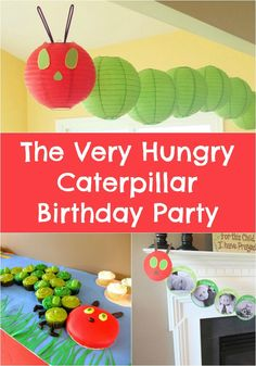 The Very Hungry Caterpillar Birthday Party Ideas! Everything from cake & cupcakes, to invitations, food, and decorations. A great birthday party idea for babies or toddlers!