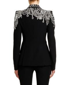 Alexander McQueen Crystal-Embellished Jersey Blazer Jacket,Alexander McQueen Crystal-Embellished Jersey Blazer Jacket Good a few ideas for lovely embroidery By embroidering lovely habits, little numbers or bea. Blazer Outfits, Blazer Fashion, Emo Outfits, Summer Outfits, High Fashion, Womens Fashion, Punk Fashion, Lolita Fashion, Mode Style