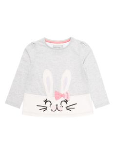 Give her seasonal collection a fun update with this grey tee, featuring a sequinned bunny design with appliqué ears. Crafted in pure cotton with long sleeves, this piece is perfect for colder days.  Girls grey bunny tee    Pure cotton  Long sleeve  Sequin details  Appliqué ears  Check bow  Keep away from fire