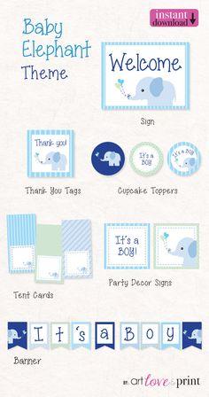 403c02fff752 BLUE ELEPHANT - Baby Shower - It s a Boy DIY Printable Party Kit only  12