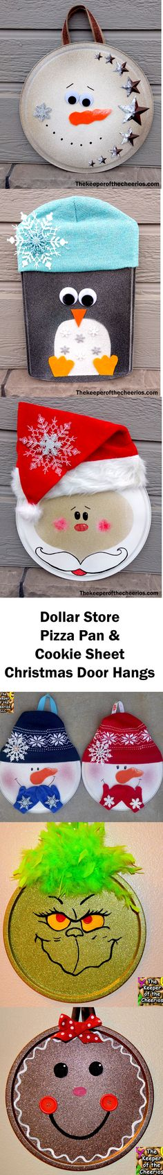 Christmas Pizza Pan Door Hangs, Christmas pizza pans, Christmas wreath ideas