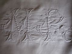 """ANTIQUE FRENCH LINEN SHEET - White Embroidery - Large Monogram """"MR"""""""