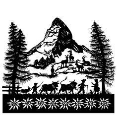 The Matterhorn Aduriz Aduriz Gerber Paper Cutting, Kirigami, Diy Paper, Paper Crafts, Paper Cut Design, Winter Illustration, Paper Artwork, Silhouette Art, Travel Posters