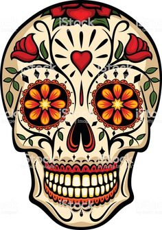 Vector illustration of an ornately decorated Day of the Dead sugar skull, or calavera. Illustration uses no gradients, meshes or blends, only solid color. Sugar Skull Painting, Sugar Skull Artwork, Sugar Skull Drawings, Sugar Skull Wallpaper, Skull Tattoo Design, Skull Design, Tattoo Designs, Caveira Mexicana Tattoo, Sugar Skull Images
