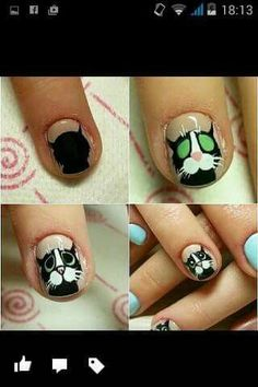 Here are some hot nail art designs that you will definitely love and you can make your own. You'll be in love with your nails on a daily basis. Cat Nail Art, Animal Nail Art, Cat Nails, Animal Nail Designs, Toe Nail Designs, Simple Nail Designs, Short Nails Art, Trendy Nail Art, Nails For Kids