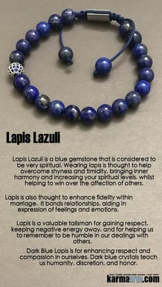 Lapis Lazuli is very spiritual. Wearing #lapis helps overcome shyness and timidity, bringing inner #harmony and helping to win over the affection of others.  #Beaded #Beads #Bijoux #Bracelet #Bracelets #Buddhist #Chakra #Charm #Crystals #Energy #gifts #gr http://kundaliniyogameditation.com/
