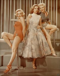 "Actresses Marilyn Monroe (1926-1962), Lauren Bacall (b. 1924), and Betty Grable (1916-1973), ""How to Marry a Millionaire,"" 1953."