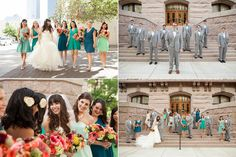 Teal and grey wedding party inspo