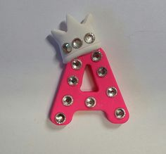 Polymer Clay Letter Clay alphabet Princess Crown  by PegsSewCrafty