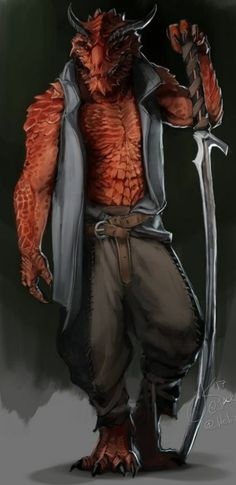 m Dragonborn Red Rogue Thief Cloak Sword Underdark undercity urban City Swims In Fire Fantasy Races, Fantasy Warrior, Fantasy Rpg, Medieval Fantasy, Fantasy Character Design, Character Design Inspiration, Character Concept, Character Art, Dungeons And Dragons Characters