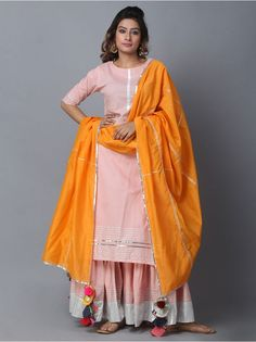 Pink Orange Cotton Sharara Suit - Set of 3