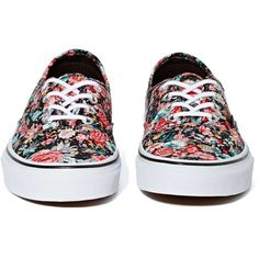Vans Authentic Slim Sneaker - Black Floral (155 MYR) ❤ liked on Polyvore featuring shoes, sneakers, vans, floral sneakers, black sneakers, black skate shoes, black trainers and black low top sneakers
